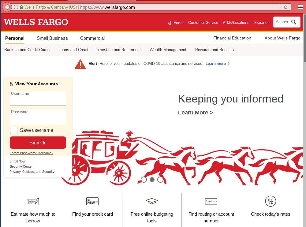 Wells Fargo Homepage